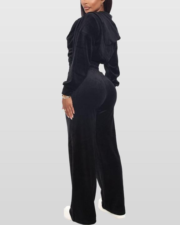 Solid Hooded Zipper Crop Top & Pants Set gallery 10