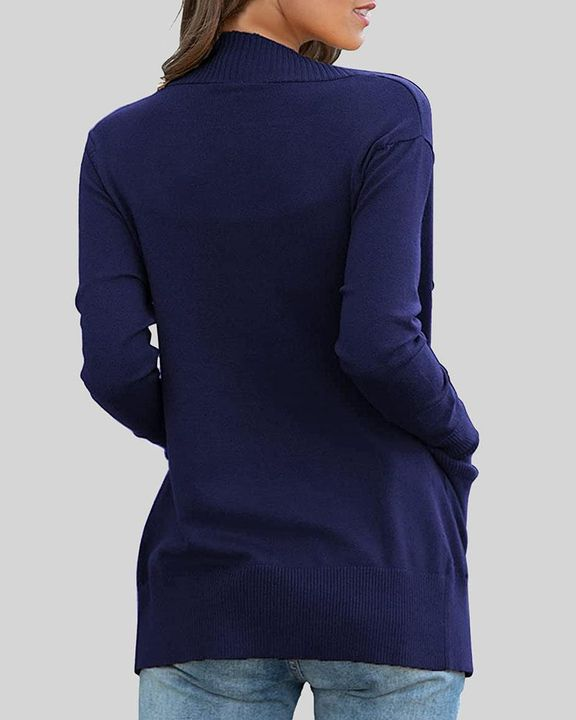 Solid Ribbed Pocket Detail Open Front Cardigan gallery 7