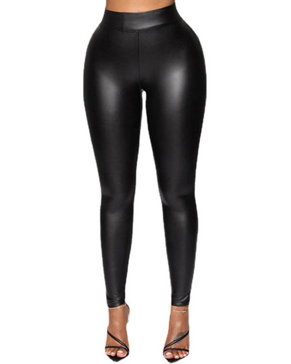Solid PU Leather High Waist Skinny Pants gallery 1