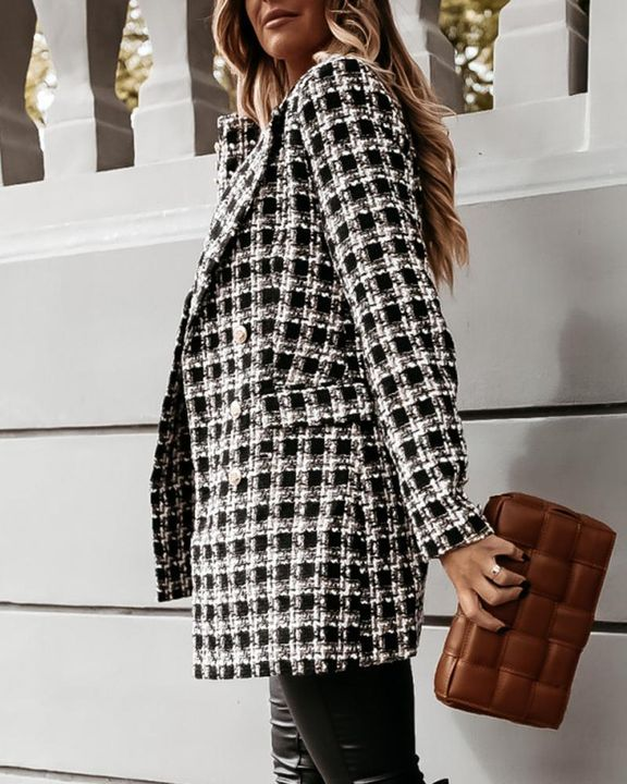 Houndstooth Double Breasted Lapel Neck Coat gallery 9