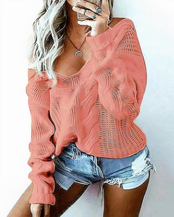 Mixed Knit Drop Shoulder Sweater gallery 3