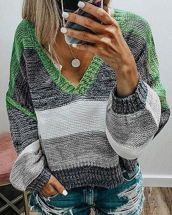 Colorblock Mixed Knit Drop Bishop Sleeve Sweater gallery 2