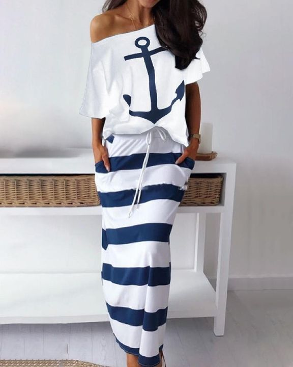 Anchor Print T-Shirt & Striped Skirt Set gallery 1