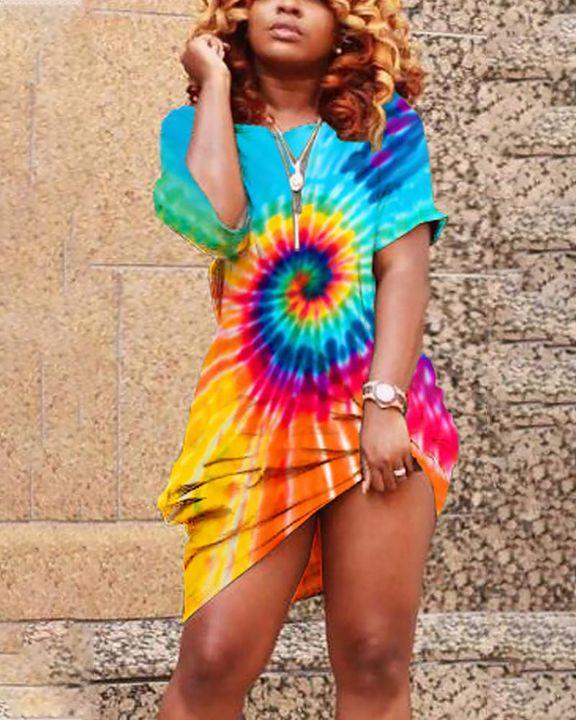 Spiral Tie Dye Pocket Front Mini Dress gallery 5
