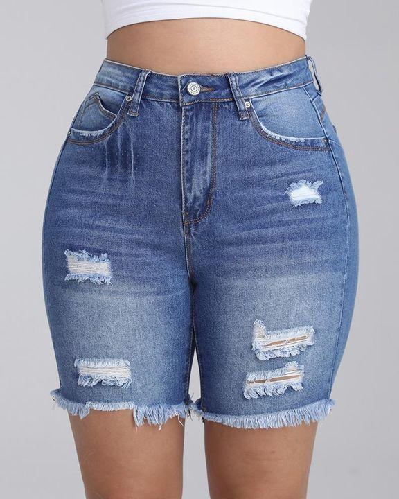 Frayed Hem Ripped Slant Pocket Denim Shorts gallery 1