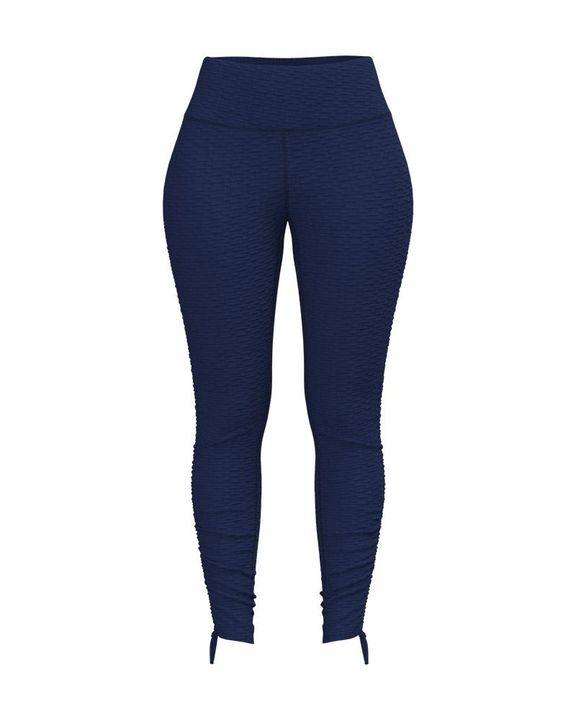 Knot Side Textured Wide Waistband Sports Leggings gallery 3