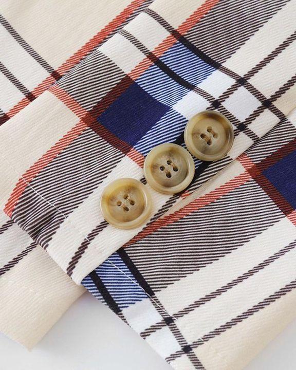 Tartan Print Flap Pocket Button Detail Blazer gallery 8