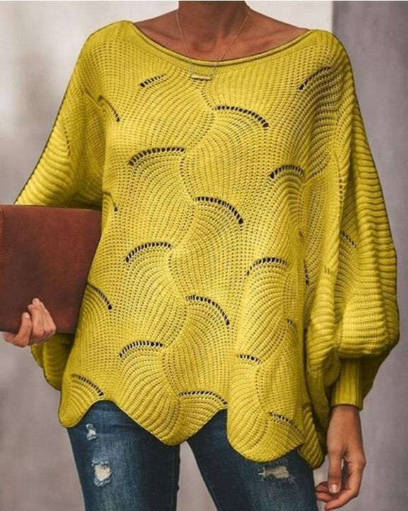 Solid Hollow Out Asymmetrical Hem Boat Neck Sweater gallery 5