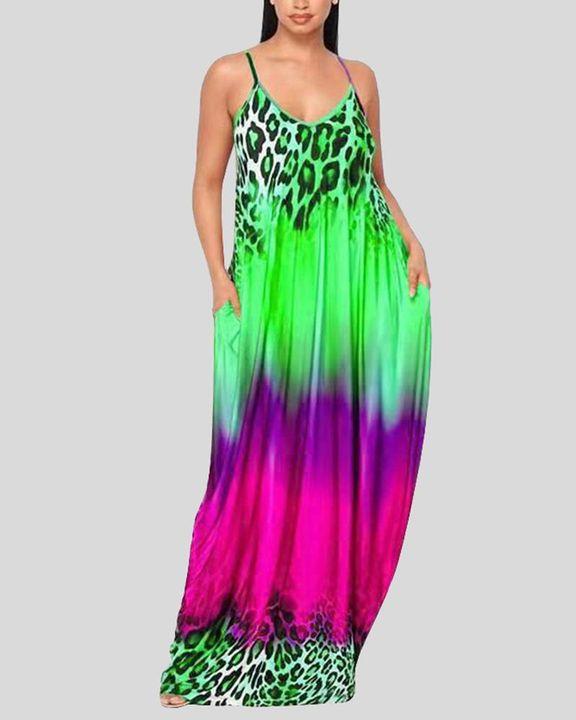 Ombre Leopard Print Cami Maxi Dress gallery 1