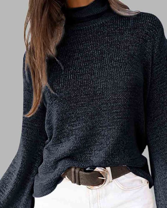 High Neck Lace Up Back Bell Sleeve Sweater gallery 5