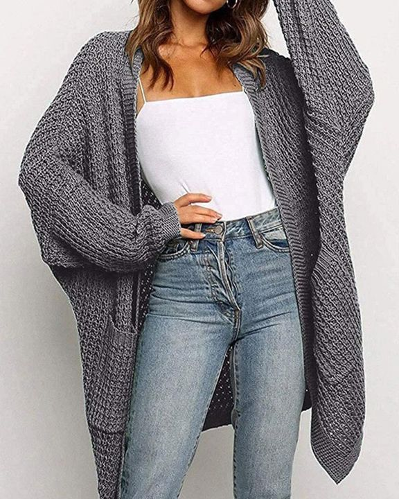 Solid Ribbed Pocket Detail Open Front Cardigan gallery 1