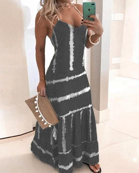 Abstract Halter Maxi Dress gallery 4