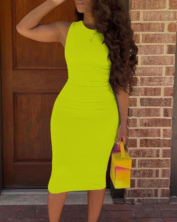 Solid Sleeveless Form Fitted Midi Dress gallery 13