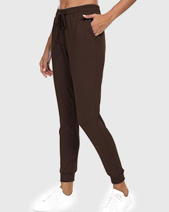 Solid Drawstring Front Pocket Detail Sports Pants gallery 16