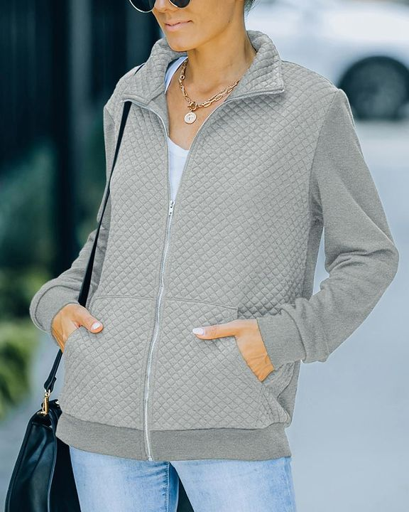 Solid Waffle Pattern Zip Up Slant Pocket Stand Collar Jacket  gallery 4