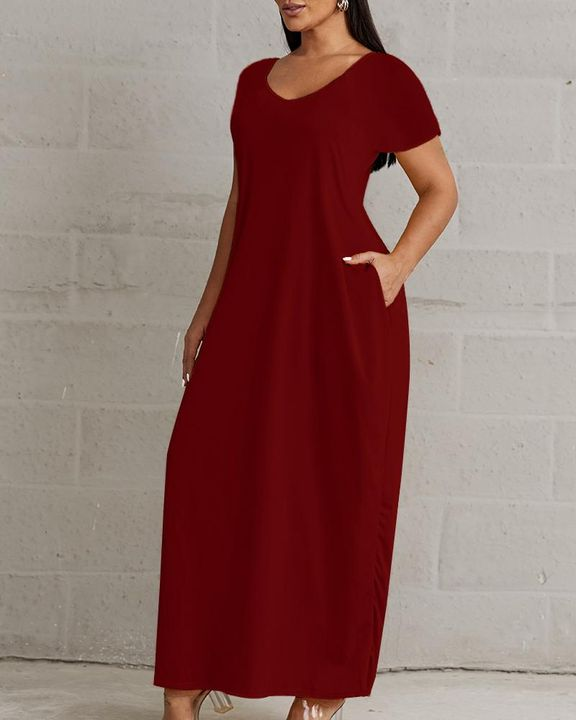 Solid Pocket Detail Maxi Dress gallery 7