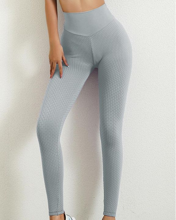 Solid Textured Butt Lifting Leggings gallery 8
