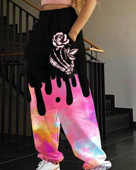 Tie Dye & Graphic Print Pocket Side Sports Pants  gallery 5