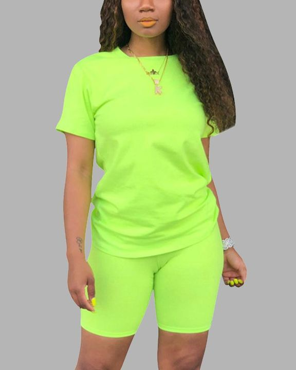 Round Neck Short Sleeve Top & Shorts Set gallery 6