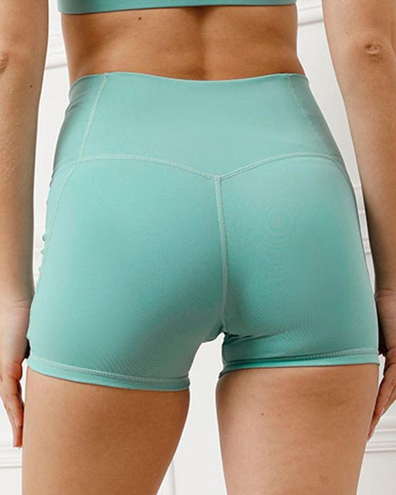 Pocket Decor Wide Waistband Butt Lifting Sports Shorts gallery 12