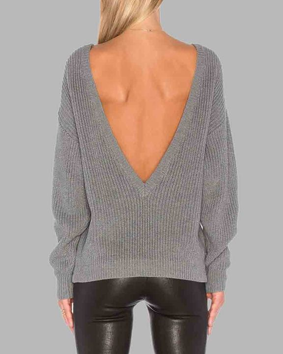 Chunky Knit Cutout Back Drop Shoulder Sweater gallery 1