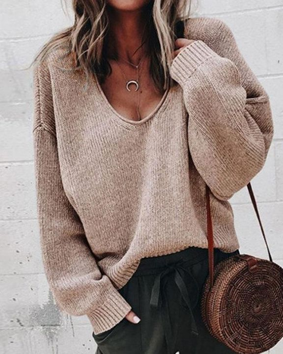 Solid Rib-knit Drop Shoulder Sweater gallery 4