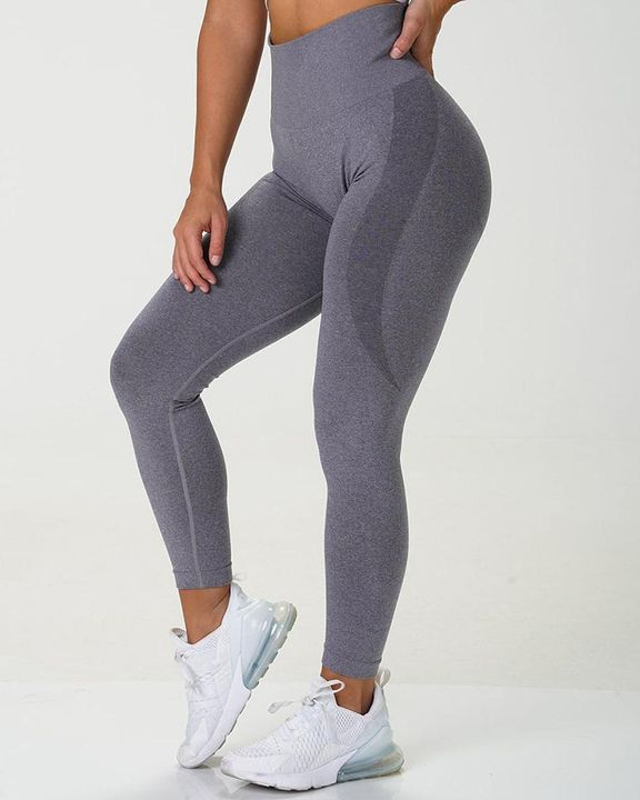 Solid Wide Waistband Contrast Stitch Sports Leggings  gallery 4
