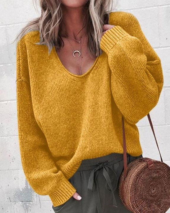 Solid Rib-knit Drop Shoulder Sweater gallery 1