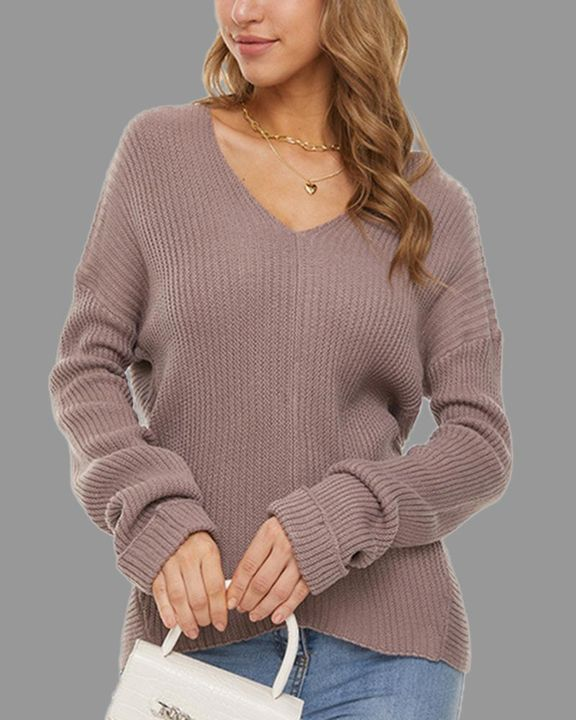 Solid Ribbed Knit Drop Shoulder Sweater gallery 3