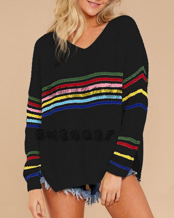 Striped Chunky Knit Drop Shoulder Sweater gallery 6
