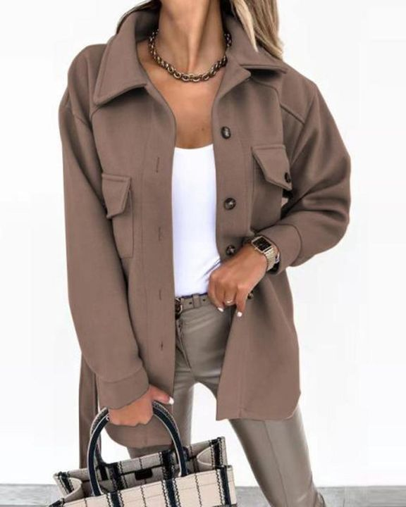 Self-Belted Flap Pocket Button Up Coat gallery 12