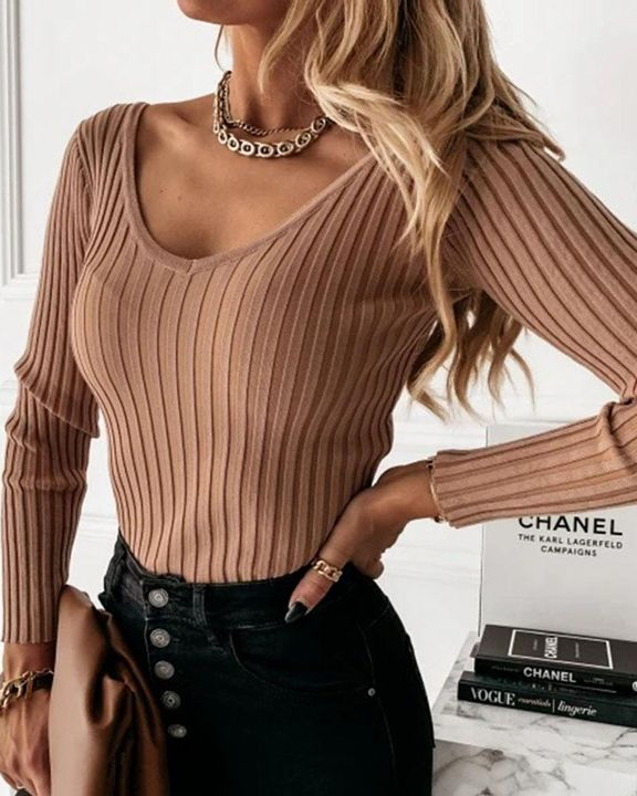 Solid Ribbed V Neck Sweater gallery 3