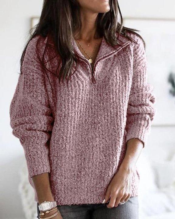 Fuzzy Knit Half Zip Drop Shoulder Sweater gallery 1