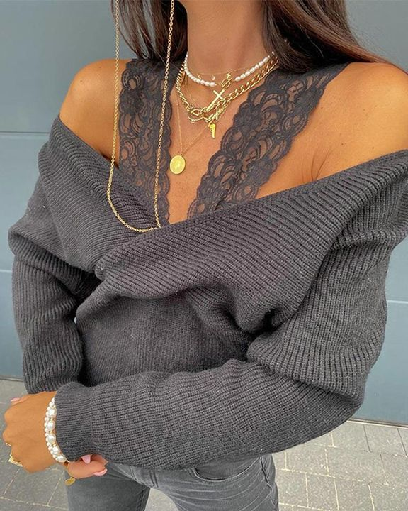 Contrast Lace Cold Shoulder Overlap Rib Knit Sweater gallery 3