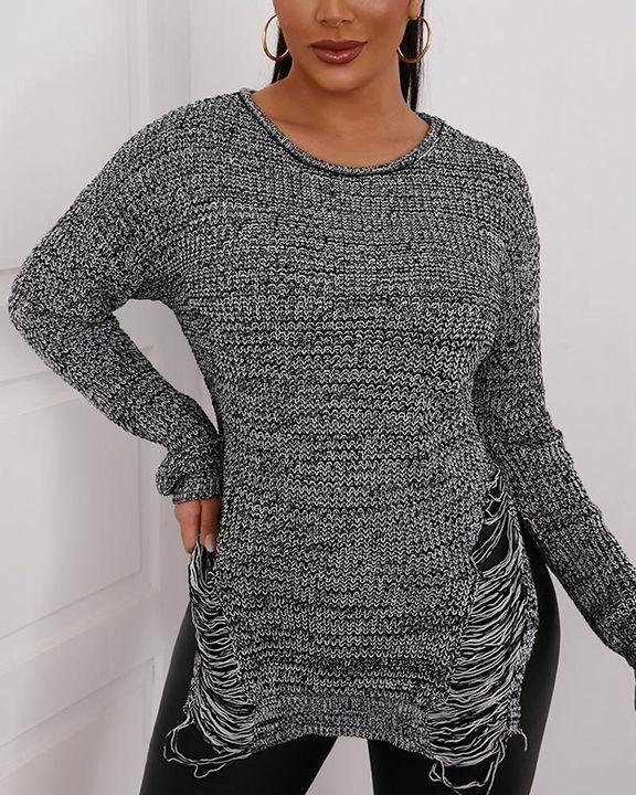 Split Hem Ripped Form Fitting Sweater gallery 4