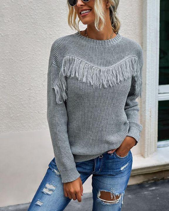 Solid Fringe Trim Drop Shoulder Sweater gallery 1