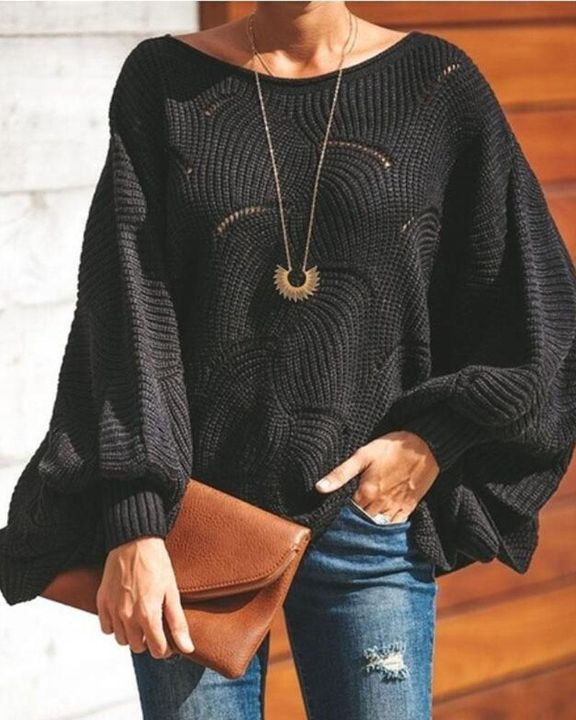 Solid Hollow Out Asymmetrical Hem Boat Neck Sweater gallery 2