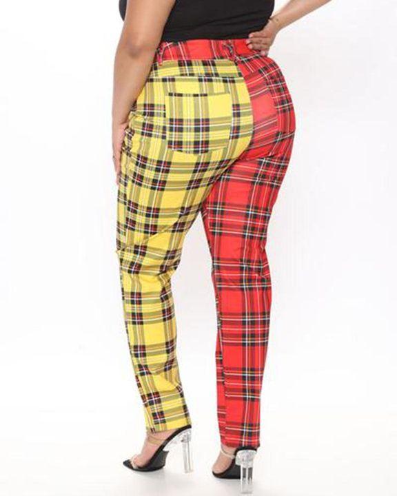 Two Tone Plaid Print High Waist Pants gallery 5