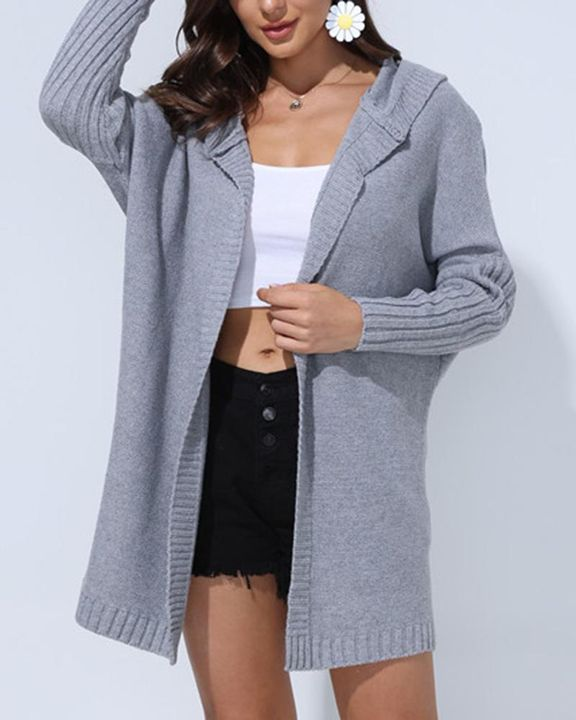Solid Open Front Hooded Cardigan gallery 8
