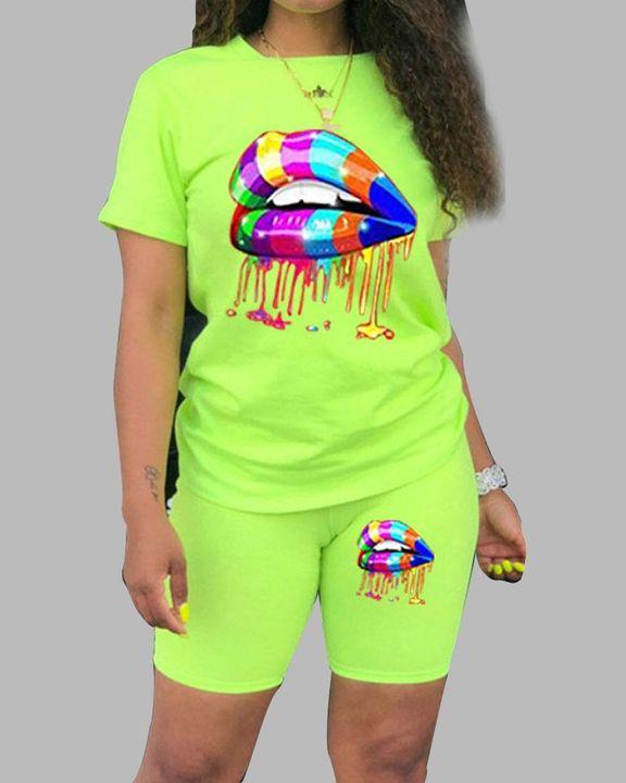 Lips Print Round Neck Short Sleeve Top & Shorts Set gallery 6