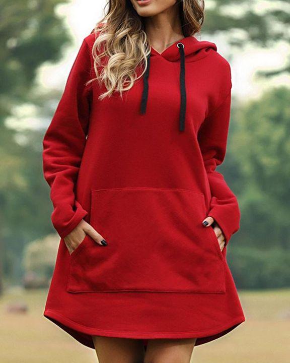 Solid Kangaroo Pocket Drawstring Mini Hooded Dress gallery 3