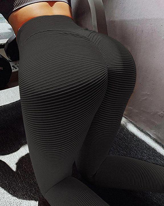 Pinstriped Ribbed Scrunch Butt High Waist Sports Leggings gallery 2
