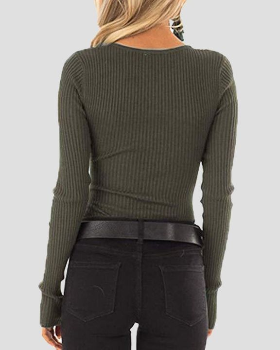 Solid Rib-Knit Button Front Long Sleeve Sweater gallery 3