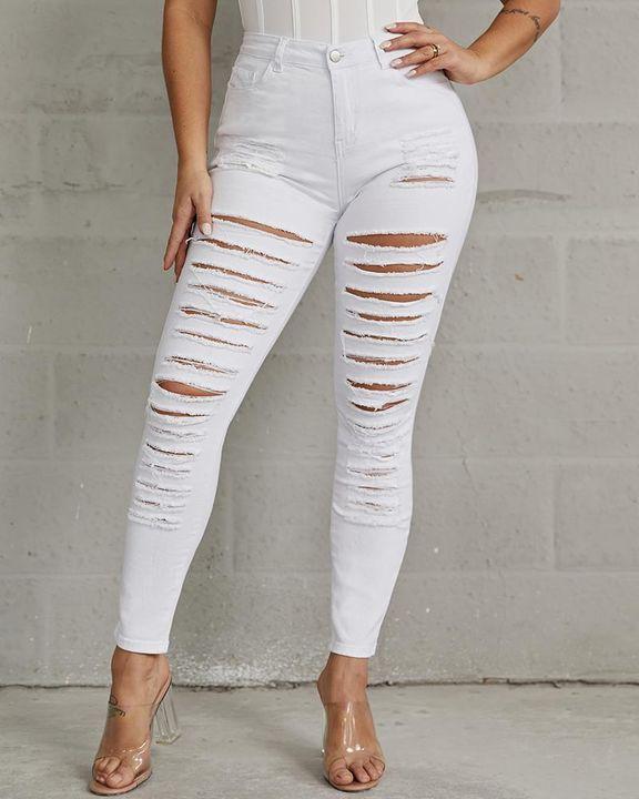 Plus High Waist Ladder Distressed Skinny Jeans gallery 10