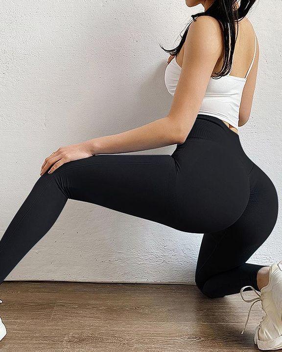 Solid Scrunch Butt High Waist Sports Leggings gallery 2