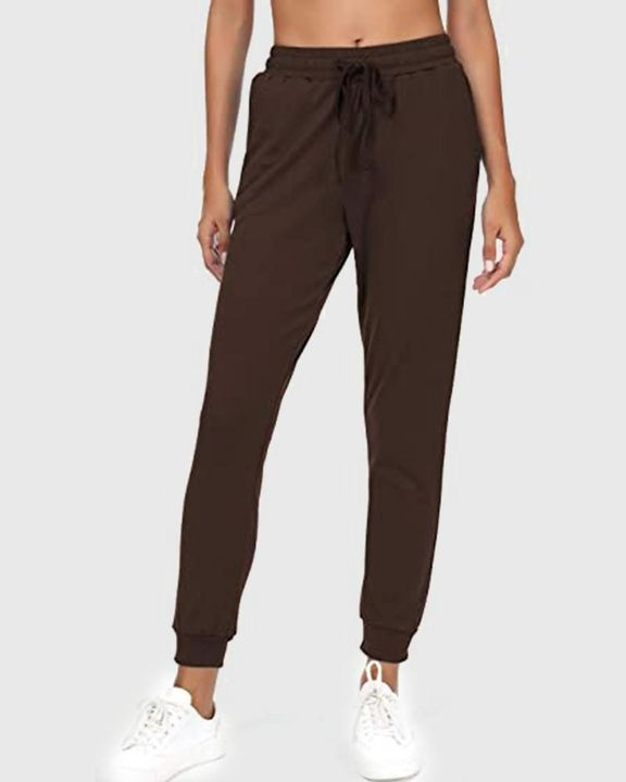 Solid Drawstring Front Pocket Detail Sports Pants gallery 7