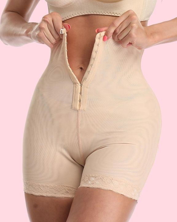 Solid Buckle Front High Waist Shapewear Shorts gallery 10