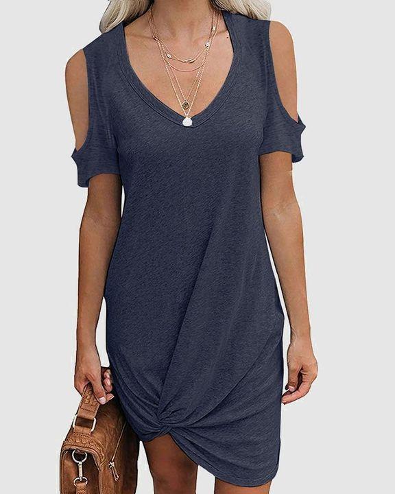 Solid Twist Cold Shoulder Short Dress gallery 6