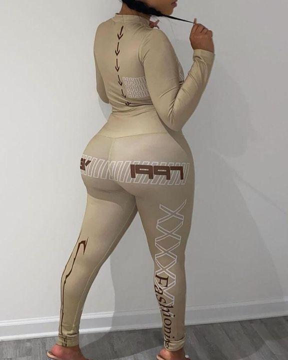 Letter & Symbol Print Mock Neck Top & Pants Set gallery 2