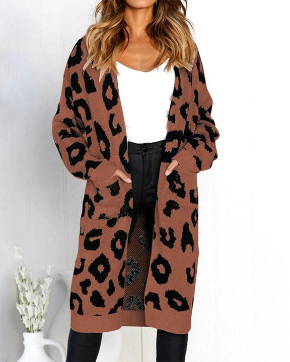 Leopard Print Patch Pocket Open Front Cardigan gallery 8